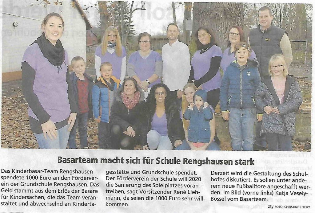 Spende Basarteam, Foerderverein Knüllwald-Rengshausen, Schulhofgestaltung