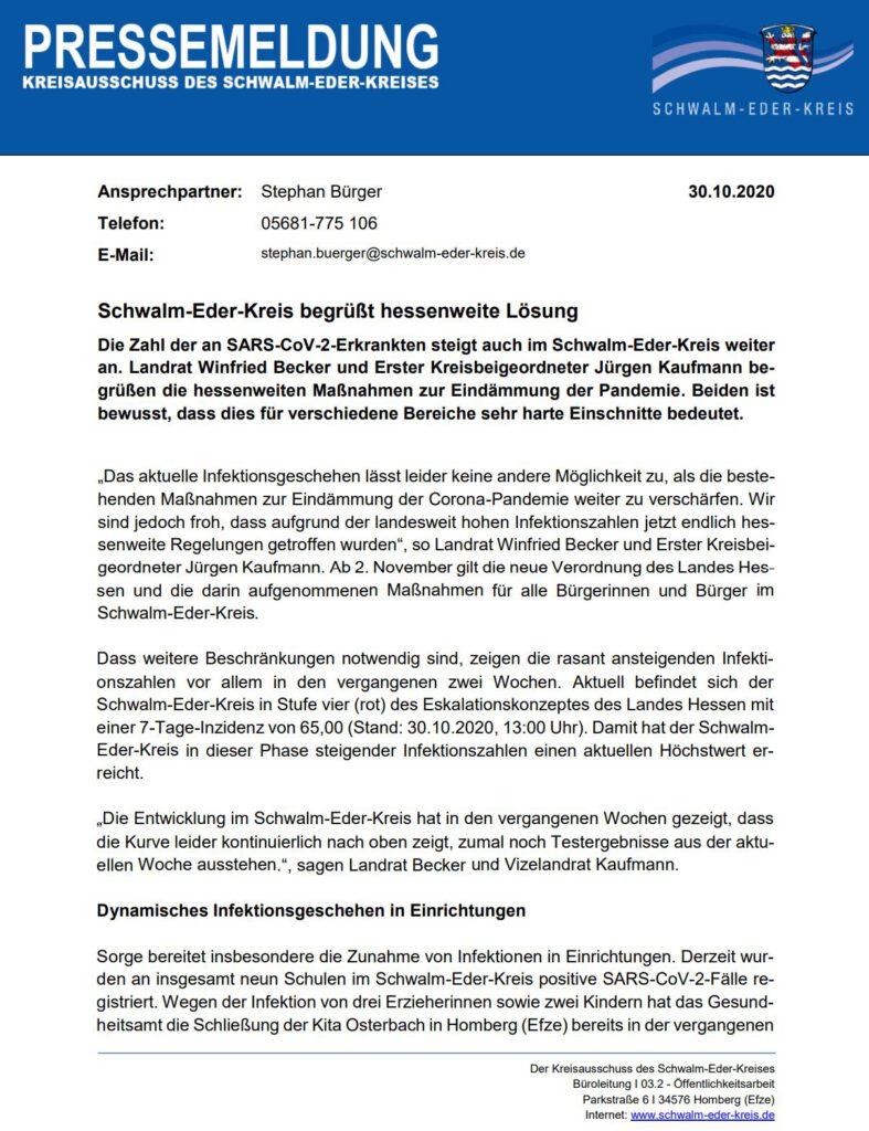 Förderverein der Grundschule Knüllwald Rengshausen, Pressemitteilung S-E-K