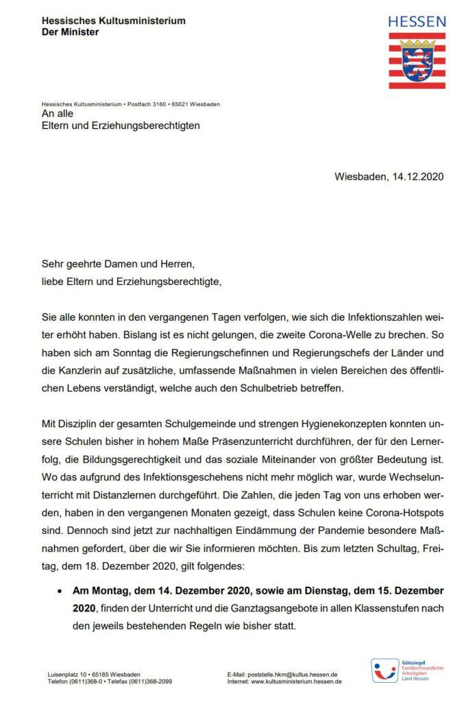 Elternbrief 14.12.2020, Förderverein der Grundschule Rengshausen