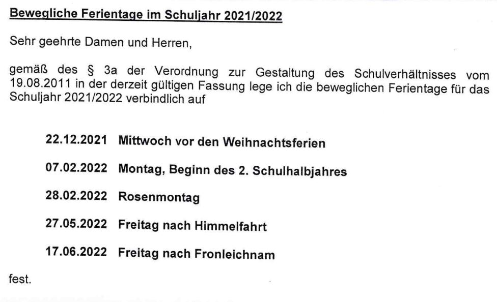 beweglichen Ferientage 2021-2022